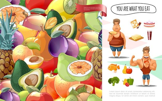 Conceito de dieta de desenhos animados