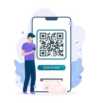 Conceito de digitalização de código qr com caracteres