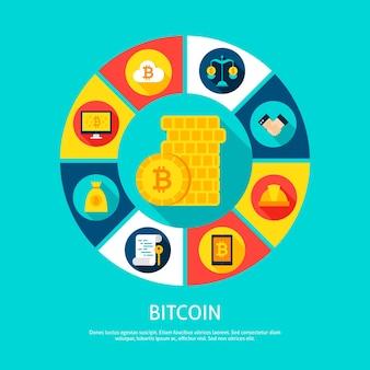 Conceito de dinheiro bitcoin. ilustração em vetor de círculo de infográficos financeiros com ícones.