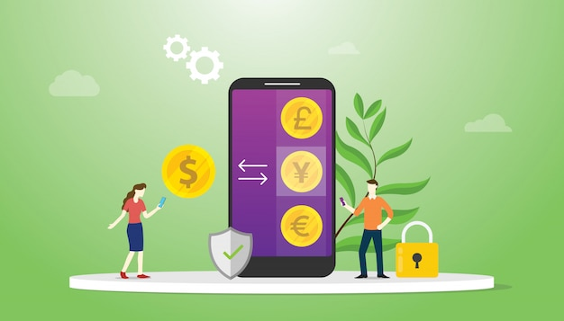 Conceito de dinheiro de troca de moeda com aplicativos de smartphone móvel com investimento em tecnologia de negócios