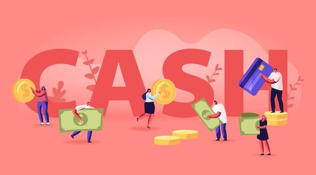 Conceito de dinheiro. pessoas minúsculas com enormes moedas de ouro, contas e cartões de crédito. ilustração plana dos desenhos animados