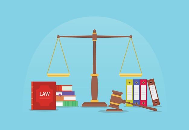 Conceito de direito e justiça legal com escalas e juiz de martelo e livros