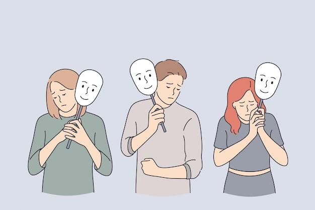 Conceito de disfarce de psicologia de personalidade emocional