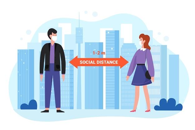 Conceito de distância social ao ar livre. homem-mulher com máscaras protetoras se distanciando durante o coronavírus