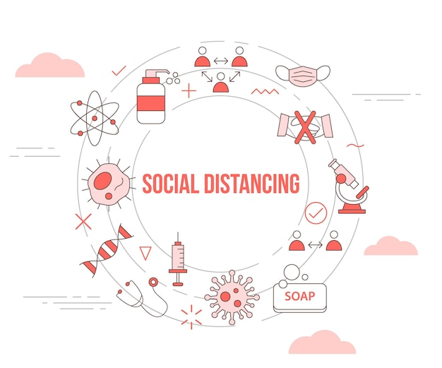 Conceito de distanciamento físico social com banner de modelo de conjunto de ícones