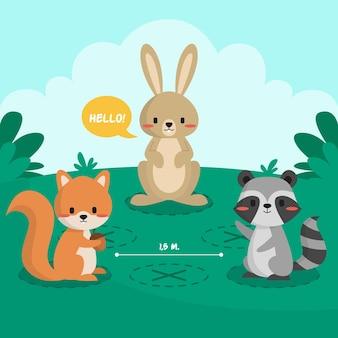 Conceito de distanciamento social com animais fofos