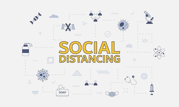 Conceito de distanciamento social com conjunto de ícones com grande palavra ou texto na ilustração vetorial central