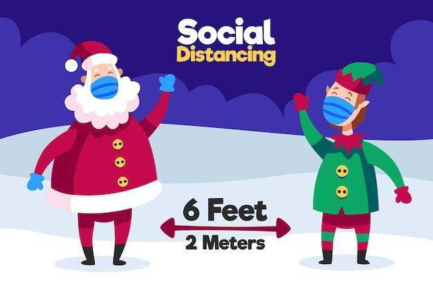 Conceito de distanciamento social com papai noel e elfo