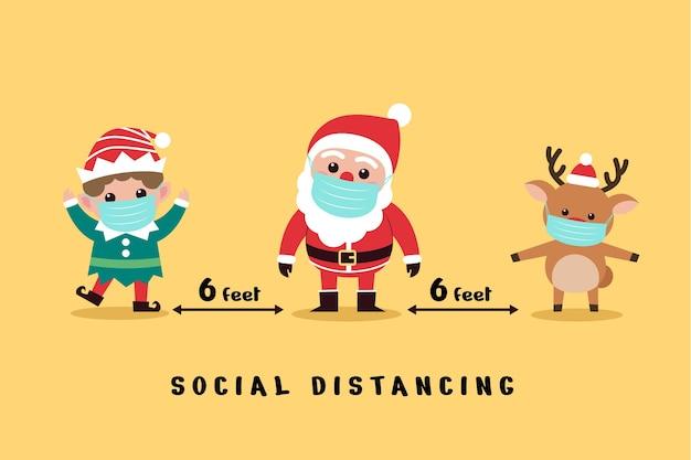 Conceito de distanciamento social com personagens de natal