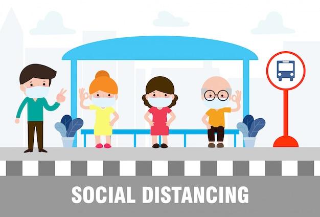 Conceito de distanciamento social com pessoas que usam máscaras médicas no ponto de ônibus durante o coronavírus ou covid-19. surto novo estilo de vida normal. evitar espalhar doenças do covid-19. ilustração.