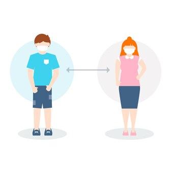 Conceito de distanciamento social ilustrado
