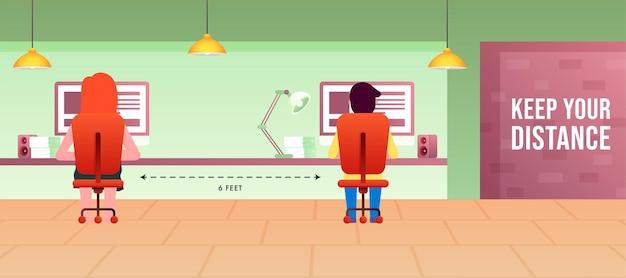 Conceito de distanciamento social no escritório