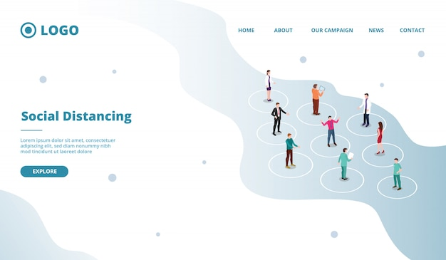 Conceito de distanciamento social para uma distância segura de pessoas na multidão para o modelo de site ou site de destino
