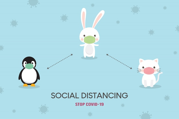 Conceito de distanciamento social. prevenção de coronavírus (covid-19) ilustração. urso fofo, urso polar e personagem fox usando máscara médica. pare o coronavírus.