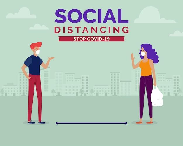 Conceito de distanciamento social. um homem e uma mulher mantendo uma distância segura para combater o coronavírus