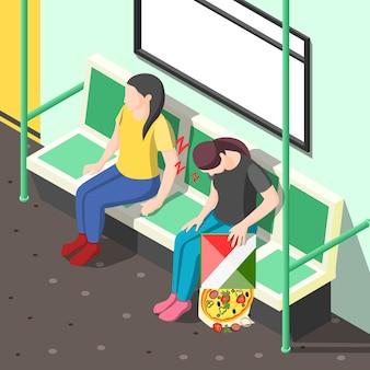 Conceito de distúrbio do sono. ilustração isométrica com mulher cansada durante a sesta no vagão do metrô