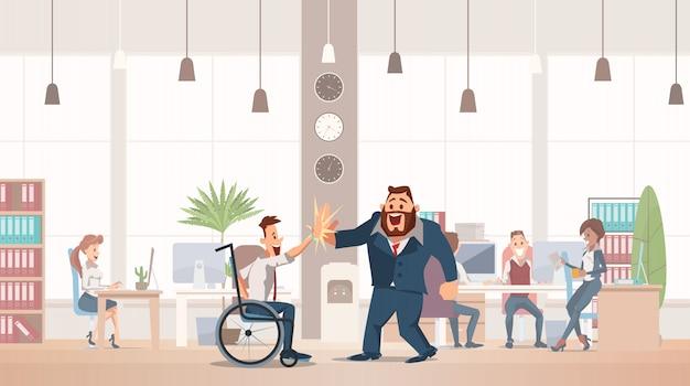 Conceito de diversão de escritório. espaço de trabalho de coworking.