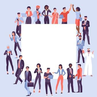 Conceito de diversidade de sociedade multicultural de design plano de pessoas e faixa em branco