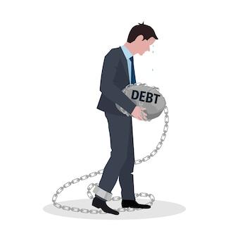 Conceito de dívida de negócios com empresário segurando pedra na ilustração vetorial de corrente
