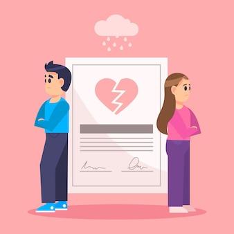 Conceito de divórcio com casal chateado