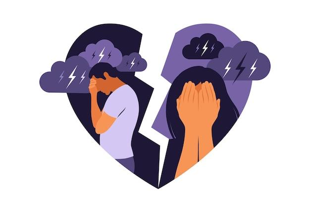 Conceito de divórcio, mal-entendido na família. desacordo, problemas de relacionamento. homem e mulher em uma briga. conflitos entre marido e mulher. vetor. plano