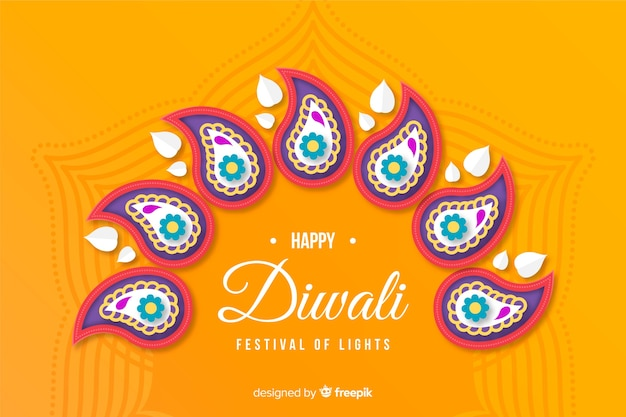 Conceito de diwali com fundo de estilo de papel