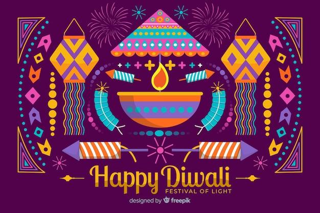 Conceito de diwali com fundo design plano
