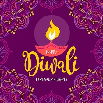 Conceito de diwali desenhado à mão