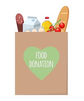 Conceito de doação de alimentos. saco de artesanato de doação de alimentos com diferentes produtos. entrega do produto durante a quarentena.