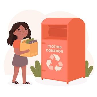 Conceito de doação de roupas com ilustração desenhada à mão