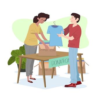 Conceito de doação de roupas de design plano
