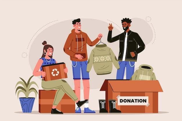 Conceito de doação de roupas desenhadas à mão plana