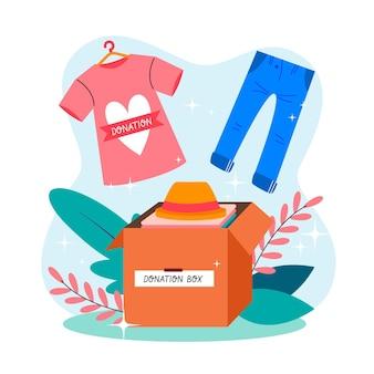 Conceito de doação de roupas desenhadas à mão