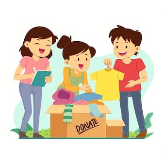 Conceito de doação de roupas desenhadas