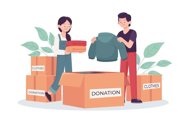 Conceito de doação de roupas desenhado à mão