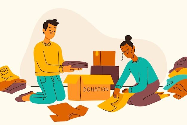 Conceito de doação de roupas para ilustração plana