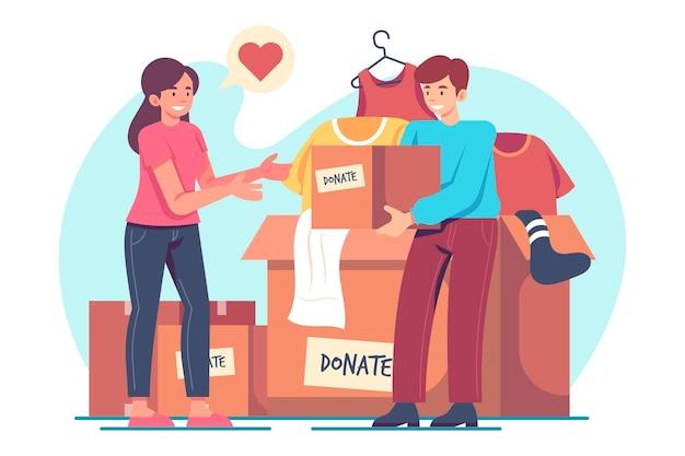 Conceito de doação de roupas simples
