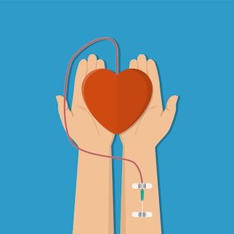 Conceito de doação de sangue.