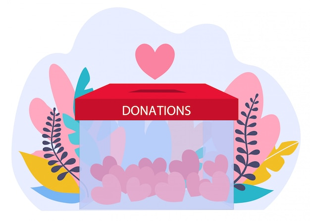 Conceito de doações. ilustração de caridade com caixa de vidro com corações. doação e voluntários trabalham ilustração do conceito.