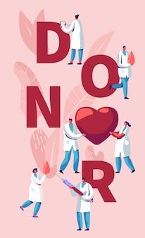 Conceito de doador com médicos