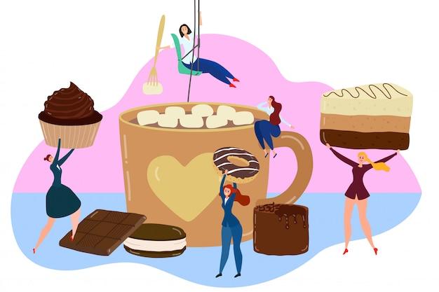 Conceito de doces de chocolate, pessoas pequenas, segurando uma sobremesa enorme, xícara de cacau com marshmallow, ilustração