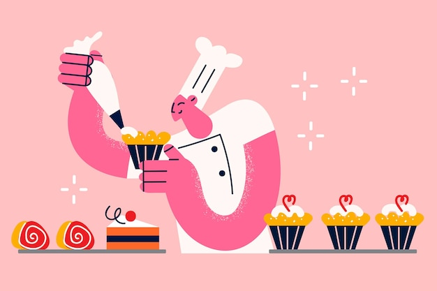 Conceito de doces e cupcakes de cozimento. ilustração vetorial jovem padeiro de uniforme branco e chapéu em pé assando bolinhos e bolos adicionando creme