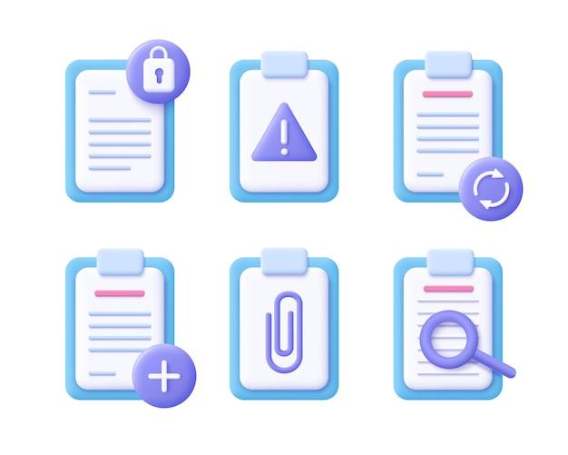 Conceito de documento de arquivo - conjunto de ícones realistas. ilustração 3d.