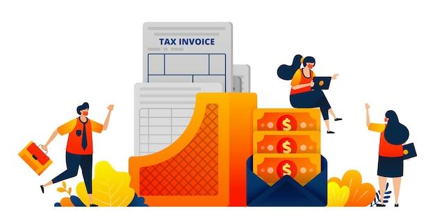 Conceito de documentos de pagamento de impostos para empresas e indivíduos dinheiro em um envelope
