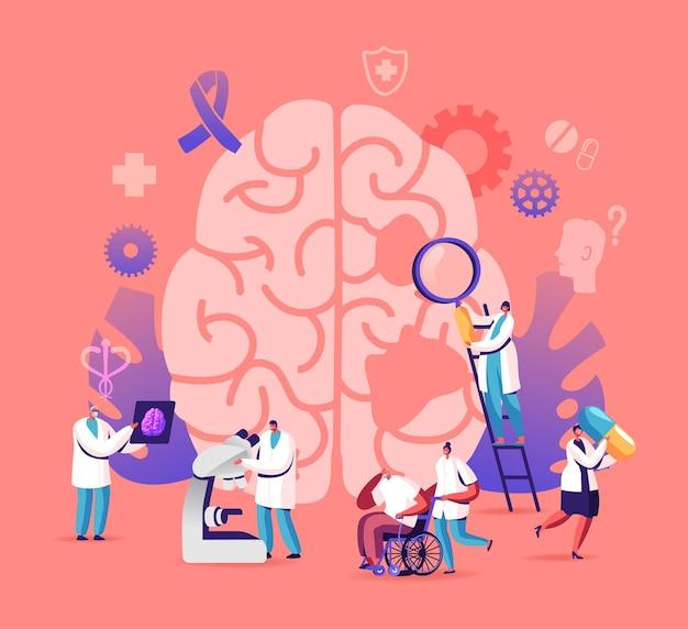 Conceito de doença de alzheimer. ilustração plana dos desenhos animados