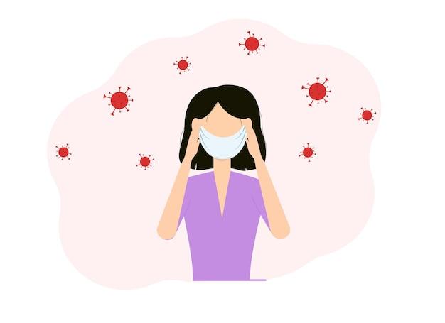 Conceito de doença viral. ilustração em vetor de uma mulher com uma máscara no rosto e as mãos segurando sua cabeça
