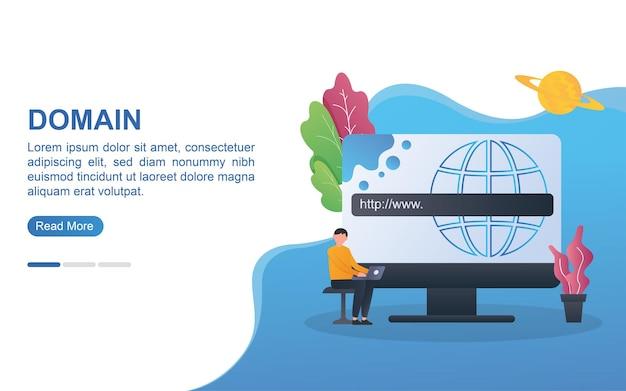 Conceito de domínio para página de destino ou banner da web.