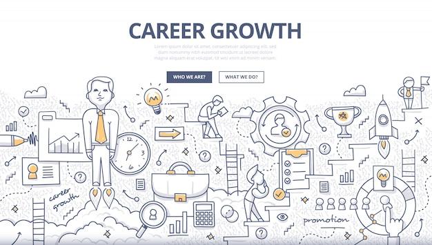Conceito de doodle de crescimento de carreira