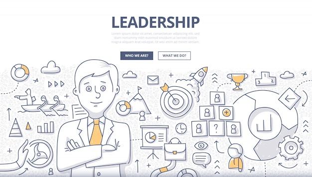Conceito de doodle de liderança