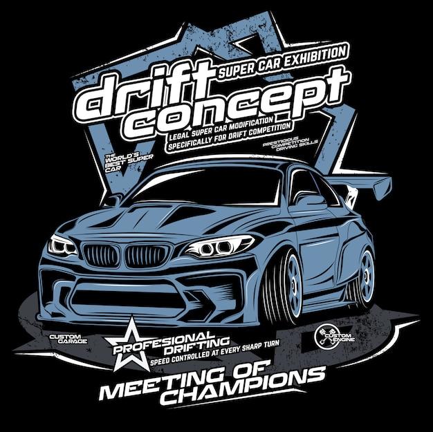 Conceito de drift, ilustração vetorial de carro